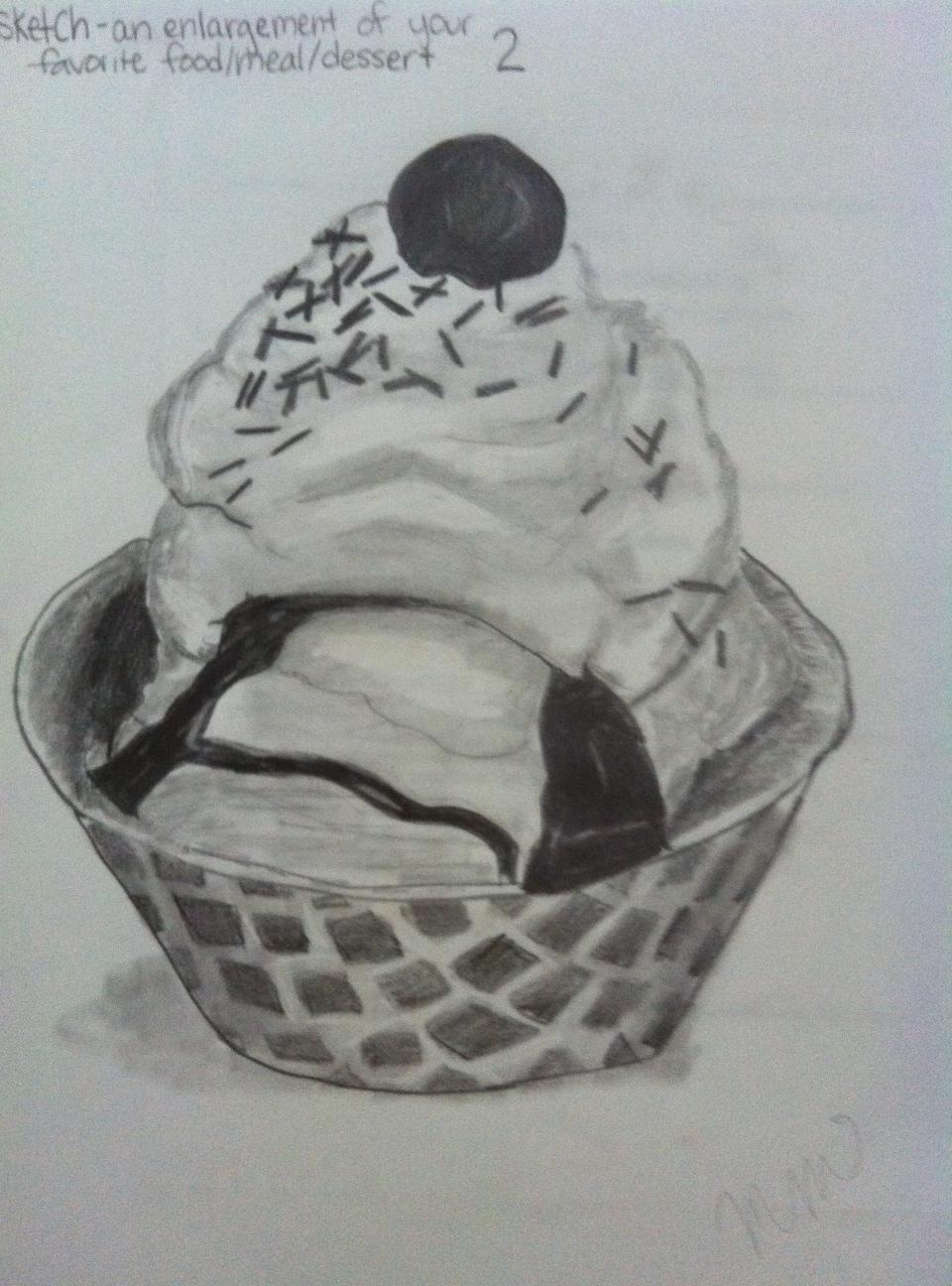 Ice Cream Sundae Drawing Ice cream sundae